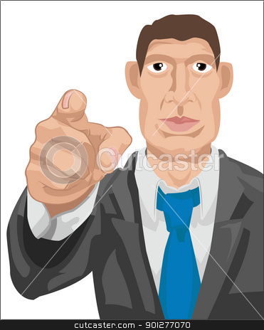 business wants you stock vector clipart, business man pointing. . Vector art in Adobe Illustrator 8 EPS format. Can be scaled to any size without loss of quality.  by Christos Georghiou