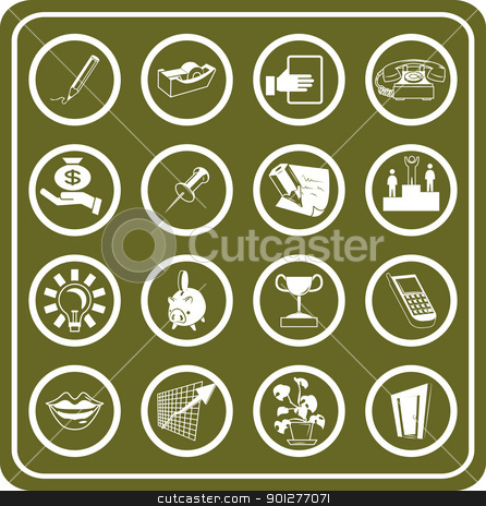 Business and office icons set stock vector clipart, A set of Business and office icons.  by Christos Georghiou