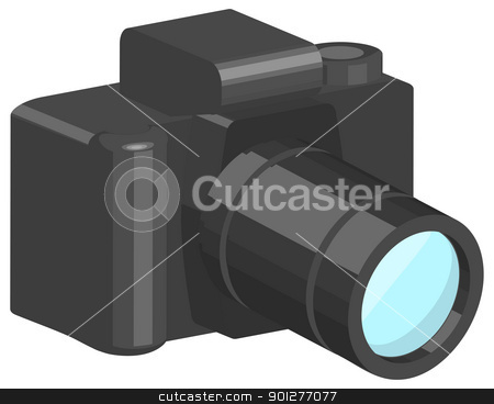 camera illustration stock vector clipart, a vector camera. Vector art in Adobe Illustrator 8 EPS format. Can be scaled to any size without loss of quality.  by Christos Georghiou