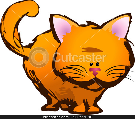 cute cat illustration stock vector clipart, A cute kitty cat  by Christos Georghiou