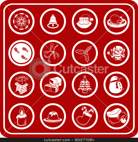 christmas icon set  stock vector clipart, A set of Christmas Icons  by Christos Georghiou