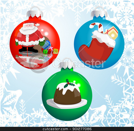 Christmas baubles stock vector clipart, Christmas baubles with pictures of Santa Claus, Christmas stocking, and Christmas pudding reflected or painted on them!  by Christos Georghiou