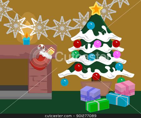christmas scene stock vector clipart, A Christmas Scene  by Christos Georghiou