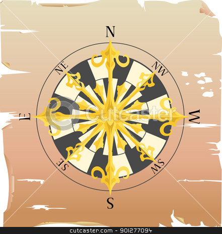 compass stock vector clipart, a vector compass on a piece of paper  by Christos Georghiou