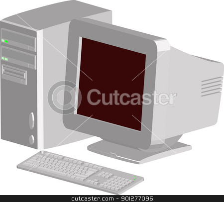 computer illustration stock vector clipart, a vector computer  by Christos Georghiou