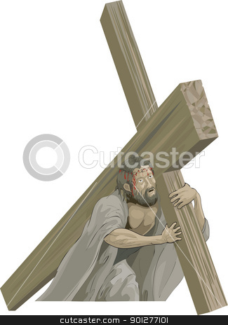 Christ bearing the cross to the crucifixion  stock vector clipart, Christ bearing the cross to the crucifixion  by Christos Georghiou