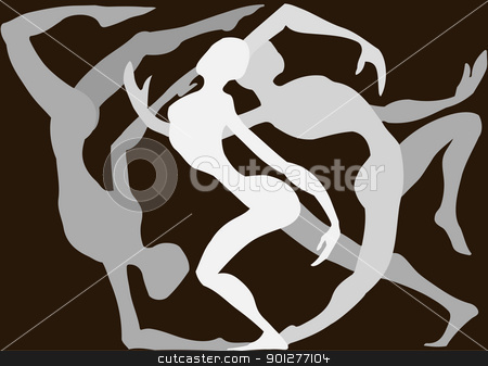 Dancers dancing around each other  stock vector clipart, Dancers dancing around each other  by Christos Georghiou