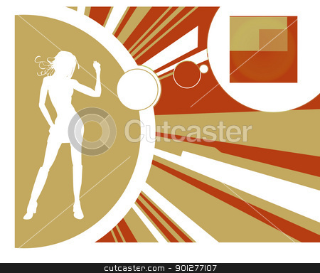 Dancer and background stock vector clipart, Female in silhouette dancing, with background.  by Christos Georghiou