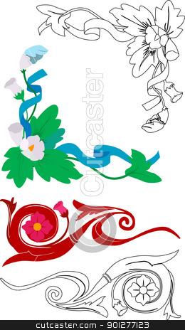 floral design elements stock vector clipart, Some floral design elements.  by Christos Georghiou
