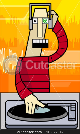 funky dj illustration stock vector clipart, a dj  by Christos Georghiou
