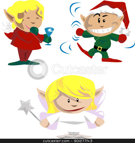 christmas elves and pixies stock vector clipart, Elves and pixies having christmas fun  by Christos Georghiou