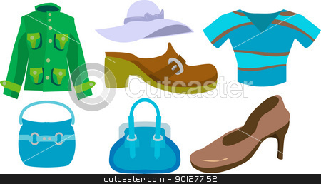 fashion set stock vector clipart, A selection of clothes and fashion accessories.  by Christos Georghiou