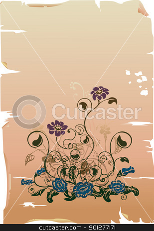 floral background stock vector clipart, A Floral design element on parchment.  by Christos Georghiou