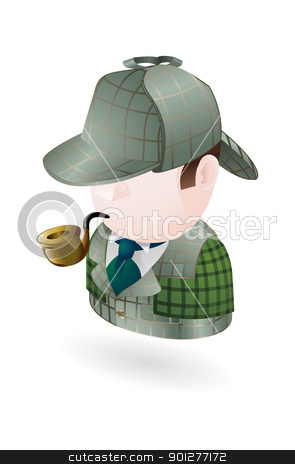 detective illustration stock vector clipart, Illustration of a detective smoking a pipe by Christos Georghiou