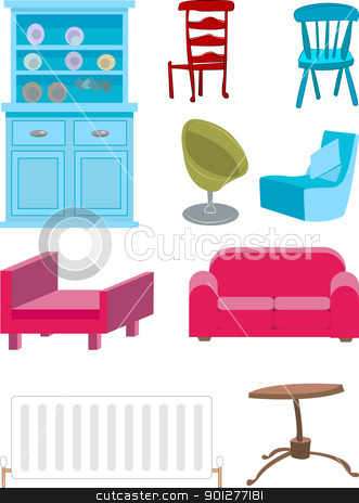 furniture set stock vector clipart, A selection of furniture.  by Christos Georghiou