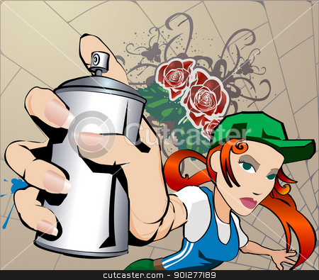 Graffiti Girl stock vector clipart, Graffiti Girl, all blends and gradients no meshes  by Christos Georghiou