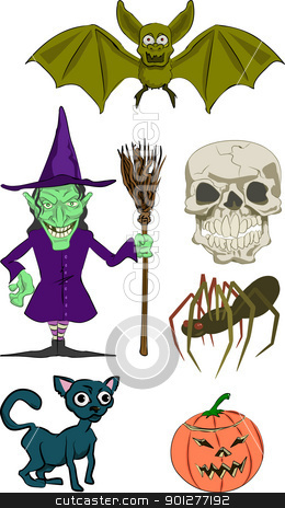 haloween elements stock vector clipart, Halloween Illustrations  by Christos Georghiou