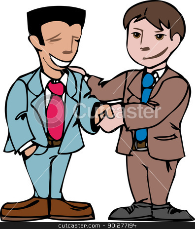 two men shaking hands stock vector clipart, business men shaking hands  by Christos Georghiou