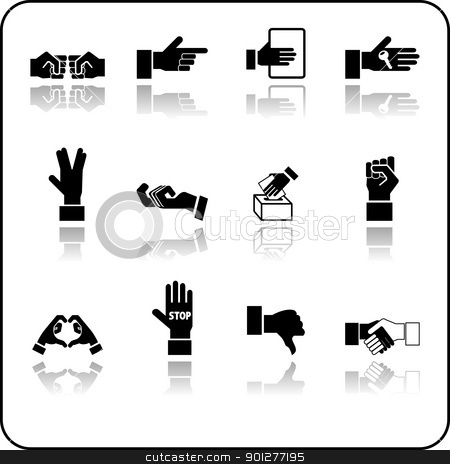 hands icon set stock vector clipart, A hand elements icon set.  by Christos Georghiou