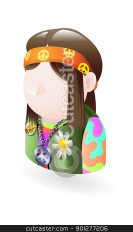 hippy icon stock vector clipart, Illustration of a male hippy by Christos Georghiou
