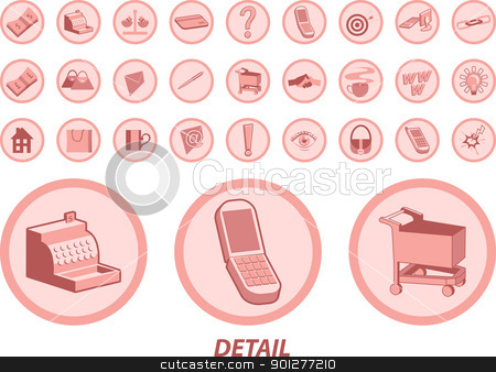 web icons stock vector clipart, Lots of useful icons for web and other uses. Includes cash, cash register, credit card, mobile phones, chain links, hand shake, mail icons, light bulb shopping cart, exchange rate icon and loads more.  by Christos Georghiou