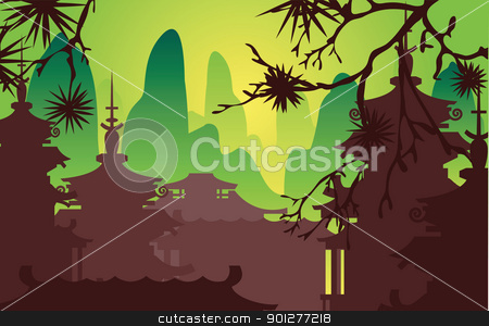 japanese design stock vector clipart, a classical Japanese scene.  by Christos Georghiou