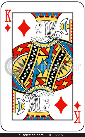 king of diamonds stock vector clipart, King of Diamonds playing card by Christos Georghiou
