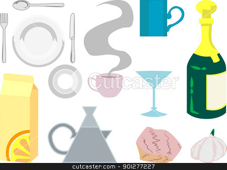 kitchen items  illustration stock vector clipart, Kitchen objects by Christos Georghiou