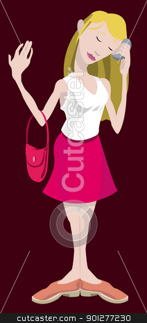 woman using her mobile phone stock vector clipart, Young woman on mobile phone. by Christos Georghiou