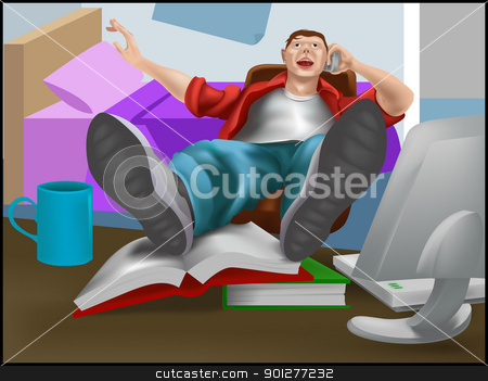 lazy guy stock vector clipart, a young man or teenager leaning back in his chair on the phone with books and computer in front of them.  by Christos Georghiou