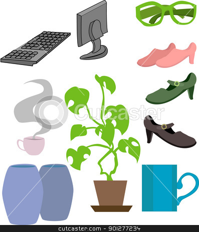 lifestyle objects stock vector clipart, an assortment of lifestyle objects.  by Christos Georghiou