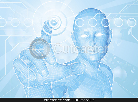 Future man touch screen concept stock vector clipart, Corporate style background concept. Futuristic blue figure touching button with world map in background. by Christos Georghiou