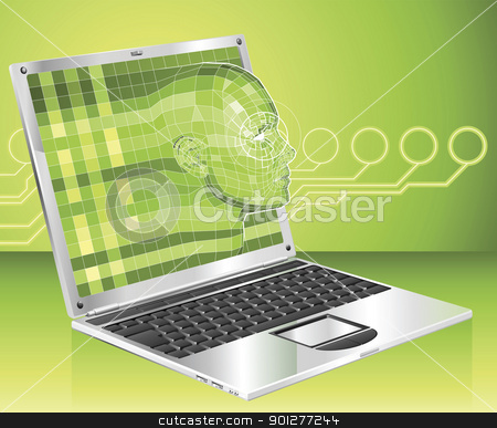 Laptop woman concept background Illustration stock vector clipart, A conceptual business technology background. Woman avatar face forming and coming out of laptop screen. by Christos Georghiou