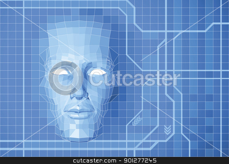 Future face concept background stock vector clipart, A futuristic polygon face forming out of grid screen conceptual background. by Christos Georghiou