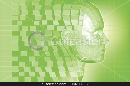 Futuristic avatar  polygon mesh background stock vector clipart, Futuristic 3D head forming from polygon pieces background  by Christos Georghiou