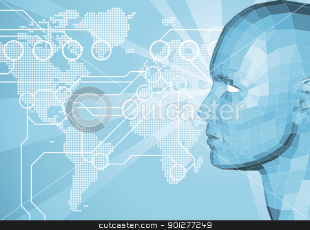 3D word communication background stock vector clipart, Corporate business background with face and world map in the background. World travel, communication or internet network concept. by Christos Georghiou