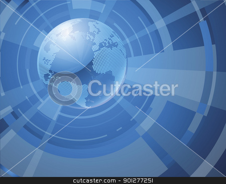 Dynamic 3d world globe background stock vector clipart, A dynamic 3d world globe background by Christos Georghiou