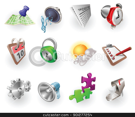 Dynamic Colour Web and Application Icon Set stock vector clipart, A set of silver steel or aluminium shiny glossy metal metallic internet application icon set series. by Christos Georghiou