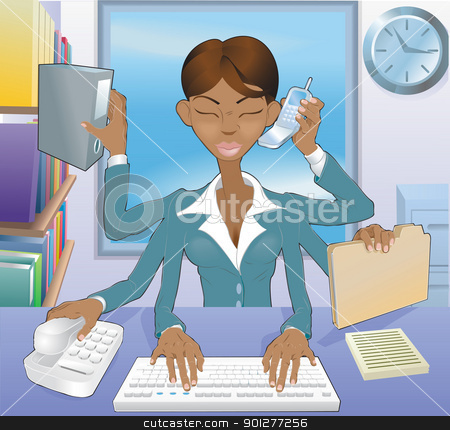 Business woman multi-tasking stock vector clipart, Illustration of multi-tasking black business woman in office environment by Christos Georghiou