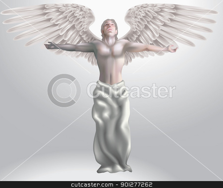 Angel Illustration stock vector clipart, Illustration of angel with arms outstretched, meshes used  by Christos Georghiou