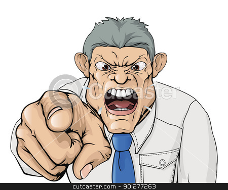 Bullying boss shouting and pointing stock vector clipart, Illustration of a bullying boss shouting and pointing. by Christos Georghiou
