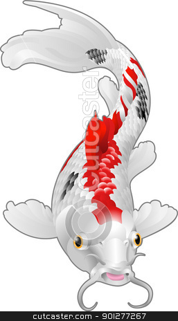 Koi carp oriental fish stock vector clipart, A beautiful koi carp artwork. Symbol of love, friendship and prosperity  by Christos Georghiou