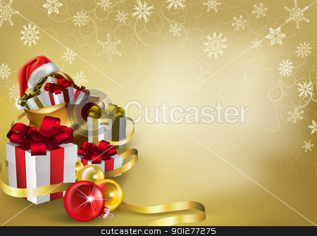 christmas background stock vector clipart, a festive illustration packed with gifts, snowflakes, baubles and ribbons, with a santas hat thrown in! by Christos Georghiou