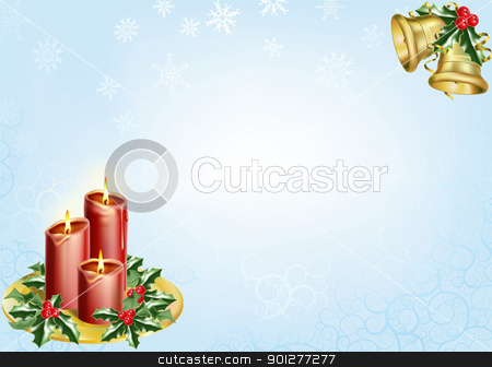 christmas background stock vector clipart, a christmas background with candles, bells and holly. by Christos Georghiou