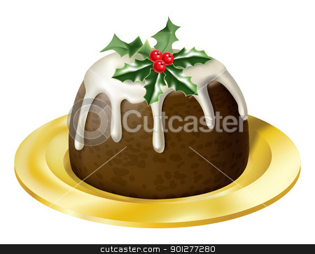 christmas pudding stock vector clipart, an illustration of a yummy glossy christmas pudding on a plate by Christos Georghiou