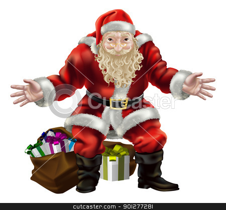 santa with presents  stock vector clipart, illustration of father christmas with gifts for everyone by Christos Georghiou