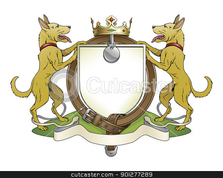 Dog pets heraldic shield coat of arms stock vector clipart, Dog pets heraldic shield coat of arms. Notice the collar instead of garter. by Christos Georghiou