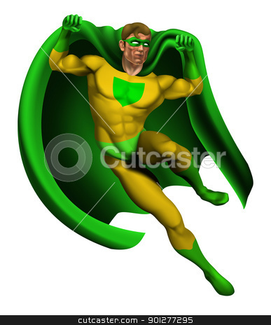 Amazing Superhero Illustration stock vector clipart, Illustration of an amazing superhero dressed in yellow and green costume with cape landing by Christos Georghiou
