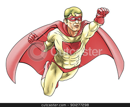 Superhero Comicbook Style Illustration stock vector clipart, Illustration of  super hero dressed in red and yellow costume and cape flying. Has color haftone style for traditional comic book art look. by Christos Georghiou