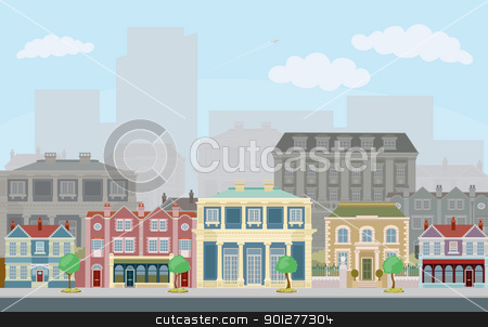 Urban street scene with smart townhouses stock vector clipart, An urban street scene with smart townhouses and skyscrapers in the background by Christos Georghiou
